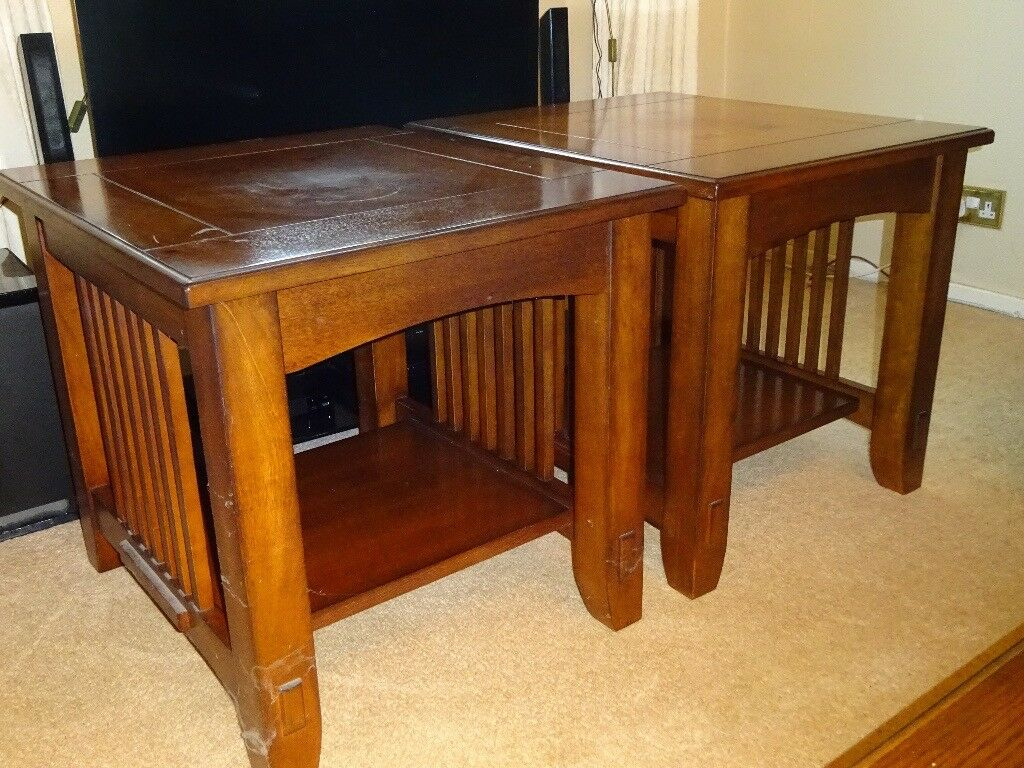 Two matching dark wood Lamp / Side Tables
