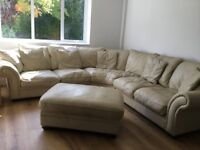 DFS Beige Leather corner sofa with large armchair and large footstool.