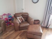 3 piece suite with poufee 4 seater 2 seater and chair