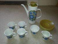 J g meakin 1960s original coffee set, good condition