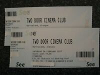 2 Two Door Cinema Club Tickets, Saturday 4th Feb at Barrowlands Glasgow.