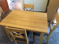 Solid Oak Dining Table & 4 Solid Oak Chairs