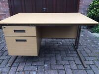 Rectangular Light Oak Office Desk & Pedestal - Free local delivery