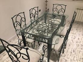 Dining room table and chairs 6 seater - Traditional metal & glass top
