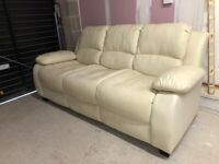 CAN DELIVER- CREAM 3 SEATER LEATHER SOFA IN GOOD CONDITION
