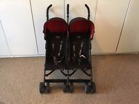 Obaby Apollo Sport Twin / Double Side by Side Pushchair / Buggy - black & red