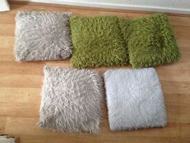 5 x sofa pillows green grey white