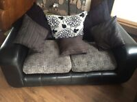 Black Leather & fabric 2 seater and two chairs - Excellent condition