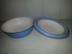 Antique Soap Dish (Blue with bowl and matching top) can also be used as a Vase