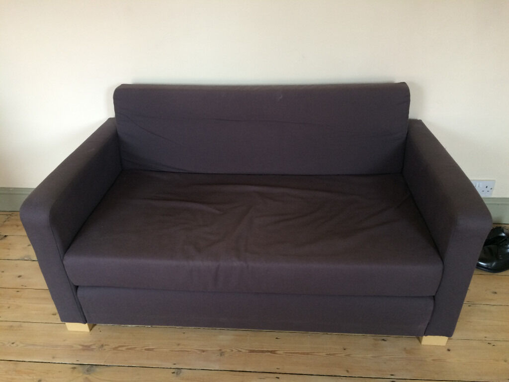 ikea ullvi two seat sofa bed in navy blue charcoal