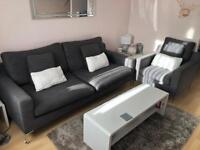 Dwell grey 3 seater sofa and arm chair