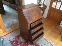 Charming Antique Walnut And Leather Inlaid Bureau