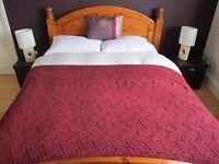 Huge Debenhams 100% Burgundy Plum Throw Blanket Bedspread