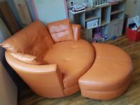 Large sofa, large cuddle chair and footstool