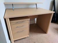 Two Shelf Computer Desk w/ Separate Drawers - 120cm x 77cm