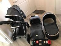 VIB Infinity 3 in 1 Pram, Buggy, Car Seat & Isofix Base Grey
