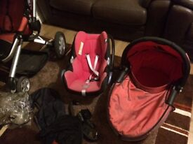 Quinny pushchair including carry cot. Car seat. Baby chair free