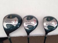 GOLF CLUBS - WOODS 1, 3 & 5 GRAPHITE SHAFTS TO SUIT - LEFT HAND PLAYER - BRAND NEW NEVER USED