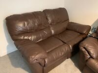 Three and two seater leather reclining