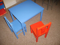 3-6 years kids table w/ 2 chairs