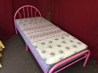 PINK METAL SINGE BED WITH MATTRESS,CAN DELIVER