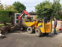 Mini Digger And Driver Hire In The Falkirk Area.