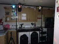 Dj stand with light bar and dici lights & speakers
