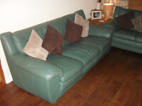 LEATHER SOFA - FABULOUS SEA GREEN SHADE, IDEAL FOR WOODEN AND LAMINATE FLOORING, ELEGANT CLASSY LOOK
