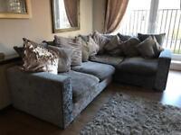 Crushed silver velvet corner sofa (swap welcome)