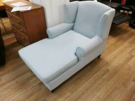 Turquoise fabric chaise seat with wooden legs