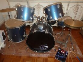 Complete CB Drum Kit- 5 drums, cymbal stand, snare stand and hi-hat stand, bass drum pedal, stool +