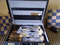 70 PIECE 23/24 ct GOLD PLATED CUTLERY SET, 1990 SBS BESTECKE, WEST GERMANY, UNUSED, IN FITTED CASE,