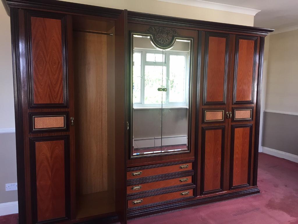 Large full mahogany cupboard drawer set