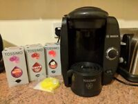 Used Tassimo Coffee Machine with Espresso pods and cleaning disc