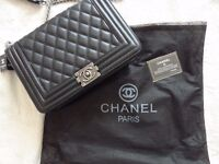 ladies chanel le boy leather large size with silver hardware brand new bag