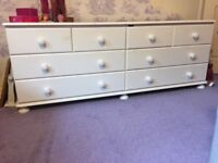 White pine double length chest of drawers
