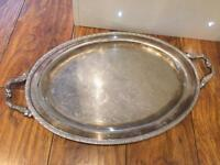 Silver plated ornate etched tray - Oneida