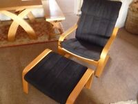 Ikea Poang armchair and matching footstool