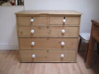 Beautiful Old Bleached Solid Pine Chest of Drawers - Loads of character - Lots of storage