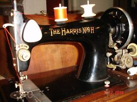 Beautiful Harris hand cranked sewing machine. Stiches well. Sounds fantastic. In good working order.