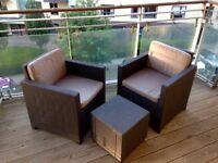 B&Q Allibert balcony set 2 chairs & table