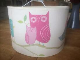 Children's bedroom lampshade in Harlequin 'What A Hoot' owl and bird design