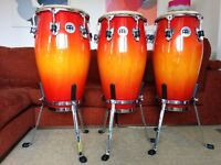Meinl Professional Series Congas with stands, set of 3, barely used, excellent condition