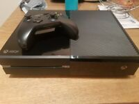Black xbox one console with controller and headset!