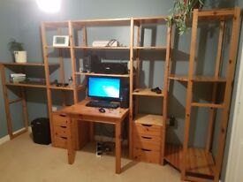 Modular pine shelving for sale with table and 2 sets of drawers.