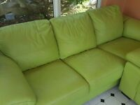2 x 3 Seater Pistachio green leather sofas and matching footstool