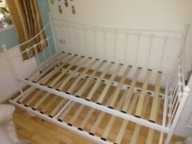 Cream metal daybed and trundle