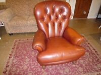 BARKER & STONEHOUSE LEATHER SPOON BACK CHAIR