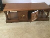 Coffee table with storage cupboard, solid wood
