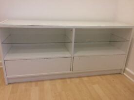 Ikea tv unit glass shelves glass on top 4ft 7 inch long 2ft high 15inch depth good condition